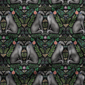 Borzoi Pattern in Midnight Black Fabric