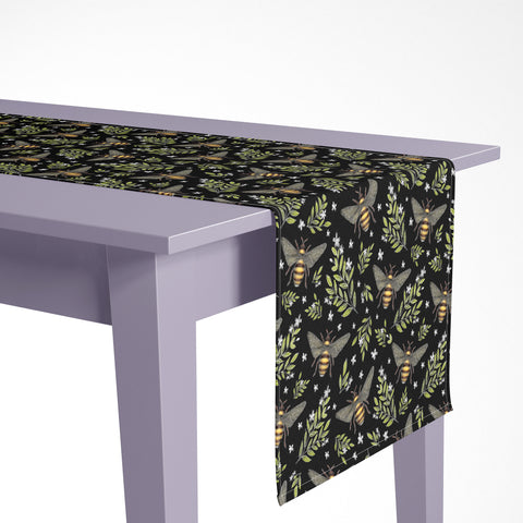 Honey Bees Pattern Luxury Table Runner - Handmade in London - 2 Sizes Available