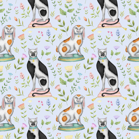 China Cats & Rabbits Wallpaper in Powder Blue
