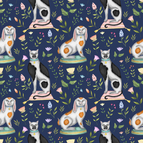 China Cats & Rabbits Wallpaper in Navy Blue