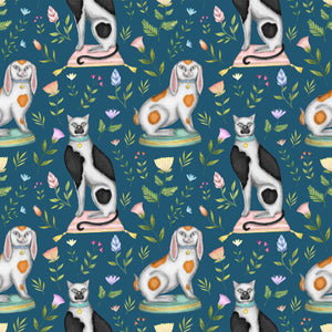 China Cats & Rabbits Wallpaper in Teal
