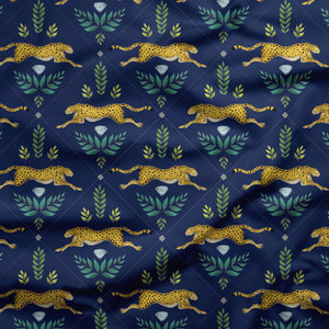 Cheetah Pattern in Navy Blue Fabric