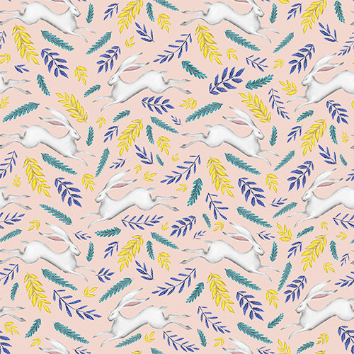 Leaping White Hare Pattern in Pink Wallpaper
