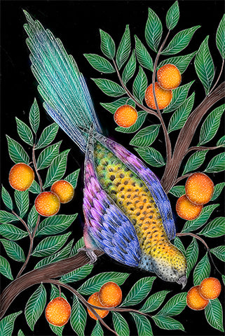 Parrot in Orange Tree Print