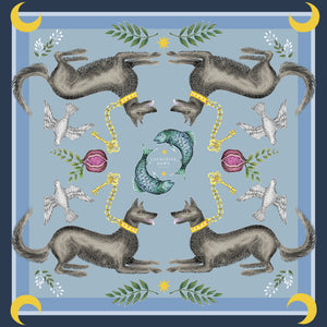 Cave Canem in Dusk Silk Scarf - Available in 2 Sizes - 100% Georgette silk or Vegan Chiffon Silk - Handmade to Order in London