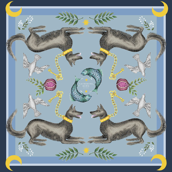 Cave Canem in Dusk Silk Scarf - Available in 2 Sizes - 100% Silk or Vegan Silk - Handmade to Order in London
