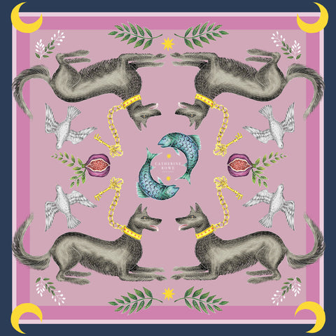 Cave Canem in Plum Silk Scarf - Available in 2 Sizes - 100% Georgette silk or Vegan Chiffon Silk - Handmade to Order in London