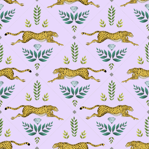 Cheetah Wallpaper in Lavender