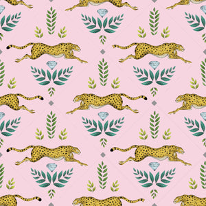 Cheetah Wallpaper in Petal Pink