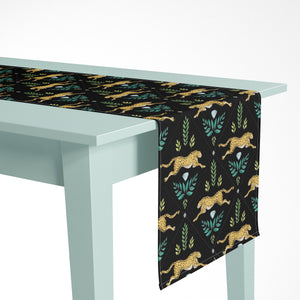 Cheetah Pattern in Midnight Luxury Table Runner - Handmade in London - 2 Sizes Available