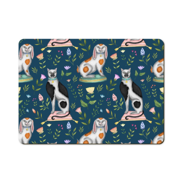 China Cats and Rabbits in Teal Wooden Placemats - Handmade to order in London