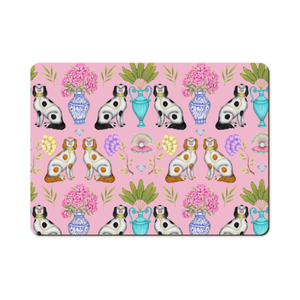 China Dogs Pattern in Miami Pink Wooden Placemats - Handmade to order in London