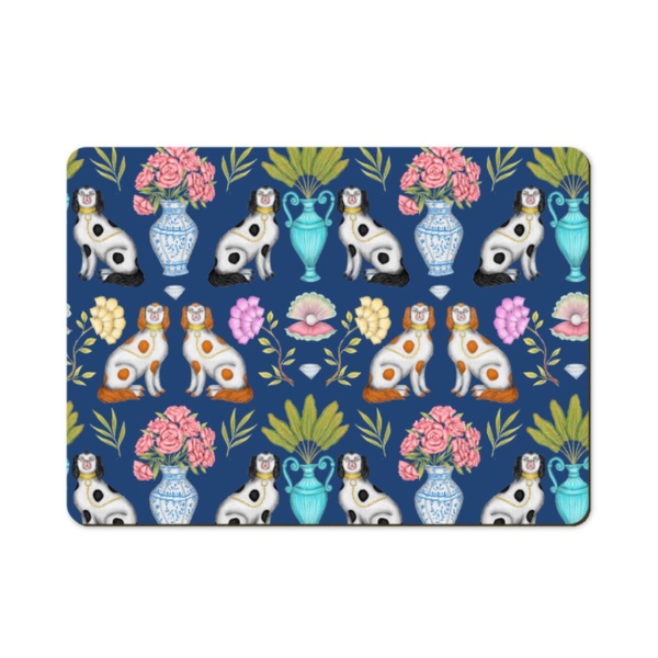 China Dogs Pattern in Navy Blue Wooden Placemats - Handmade to order in London