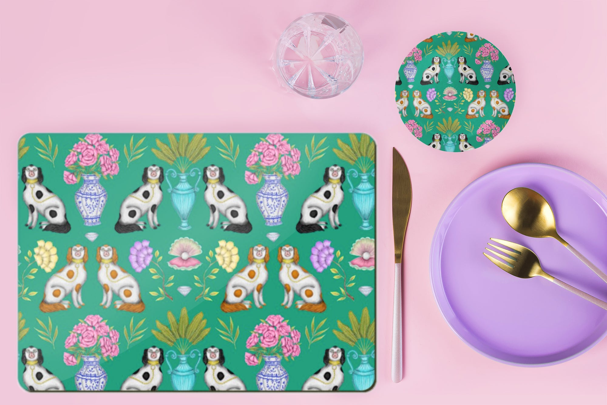 China Dogs Pattern in Emerald Wooden Placemats - Handmade to order in London