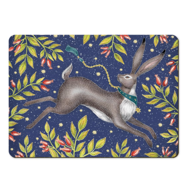 Christmas Hare Placemats - Handmade to order in London
