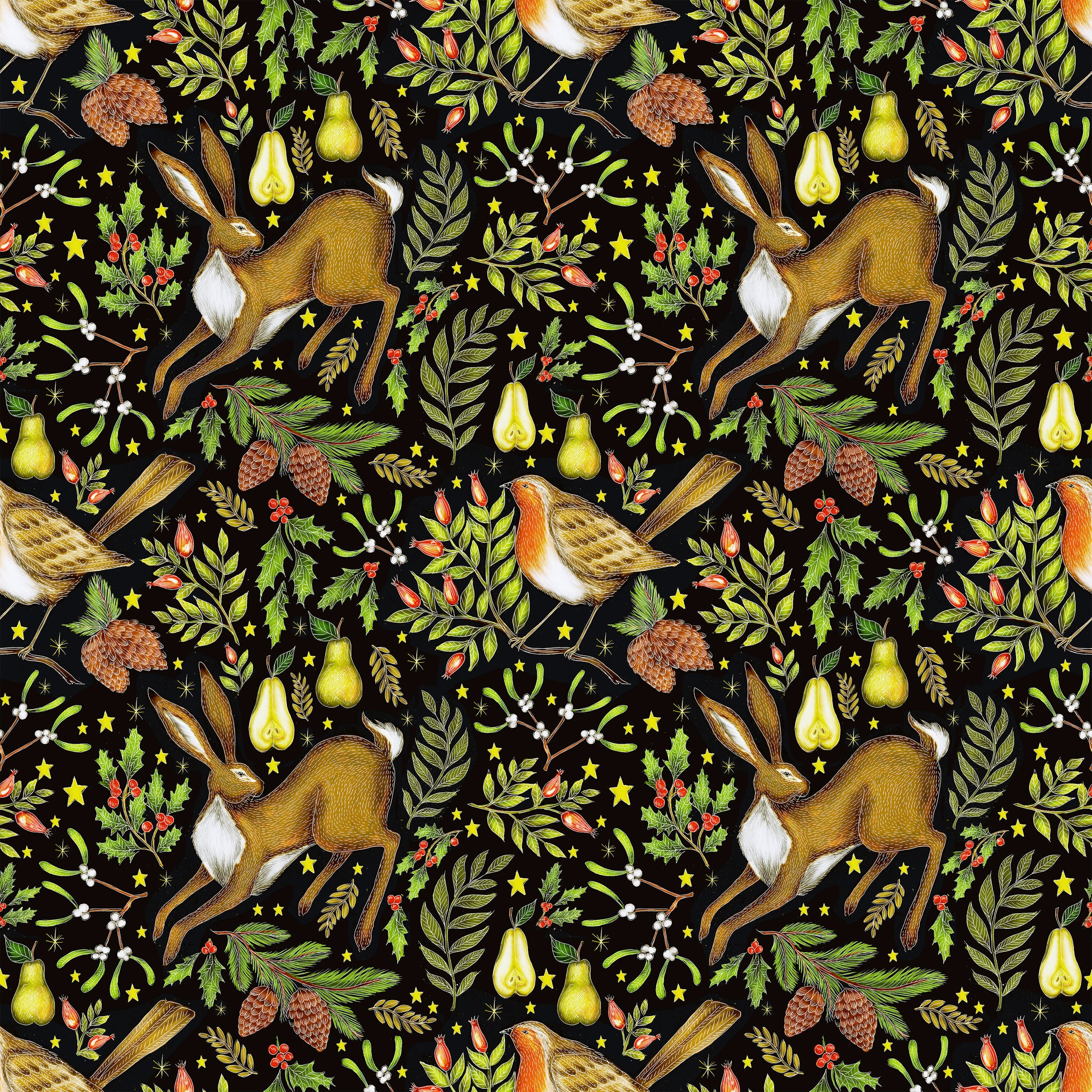 Christmas Garden Pattern in Midnight Black Fabric