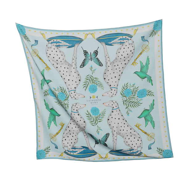 China Dog Garden in Winter Frost Silk Scarf - Available in 2 Sizes -  100% Silk or Vegan Faux Silk - Handmade to Order in London