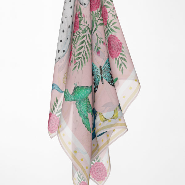China Dog Garden in Spring Peony Silk Scarf - Available in 2 Sizes - 100% Silk or Vegan Faux Silk - Handmade to Order in London