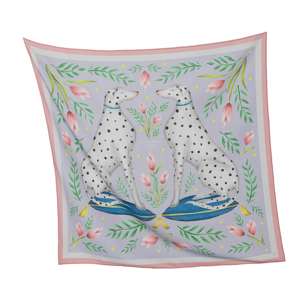 China Dalmatians in Lilac Silk Scarf - Available in 2 Sizes - 100% Silk or Vegan Faux Silk - Handmade in London