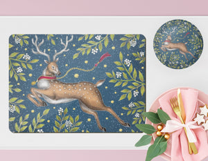 Christmas Deer Wooden Placemats - Handmade to order in London