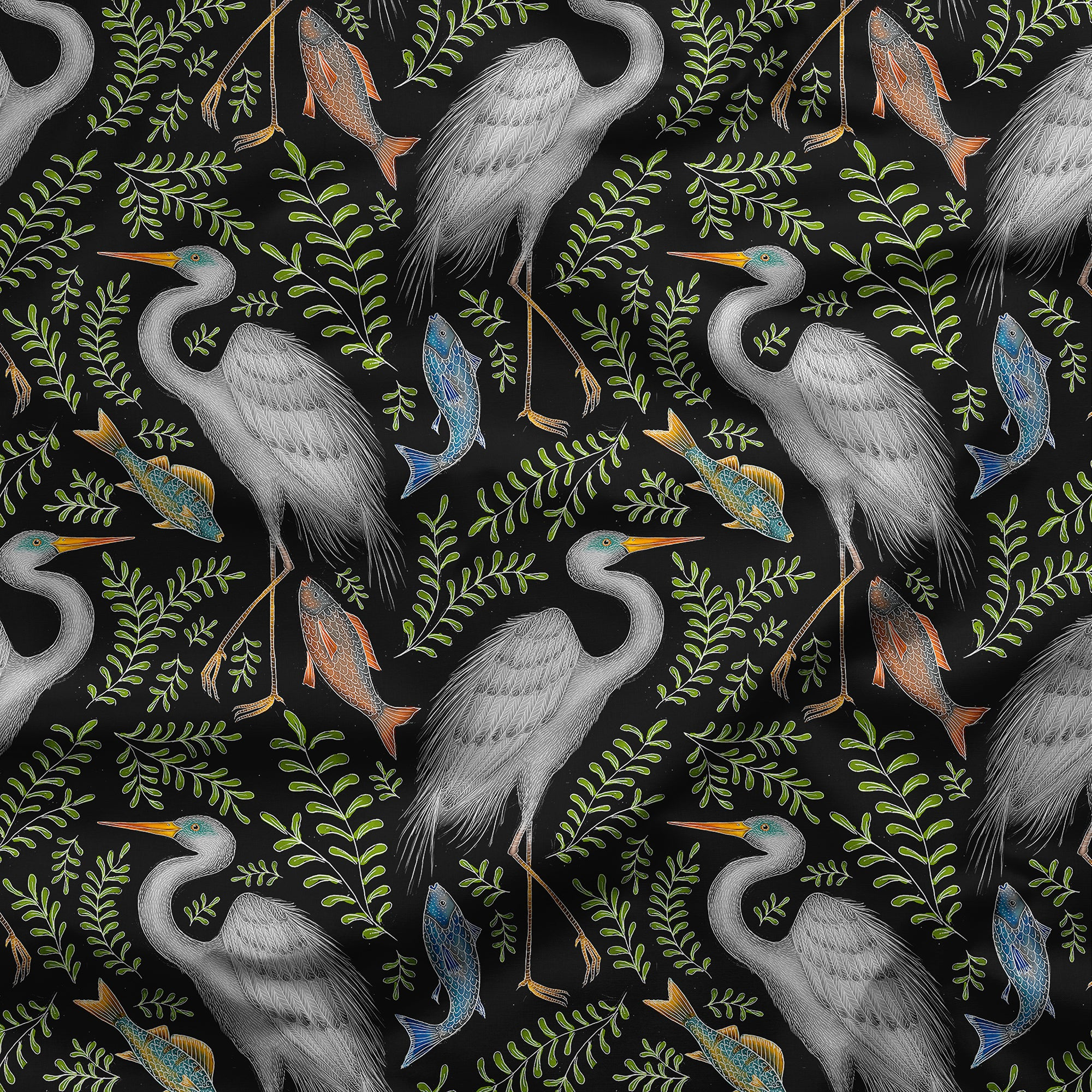 Great Eastern Egret Pattern Fabric