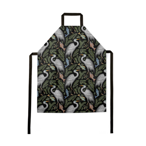 Great Egret Pattern Luxury Soft Apron - Handmade to Order in London