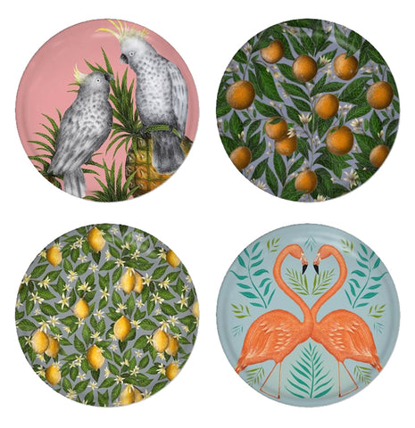 Exotica Set - 4 Round Coasters - Cockatoos, Oranges, Lemons & Flamingos