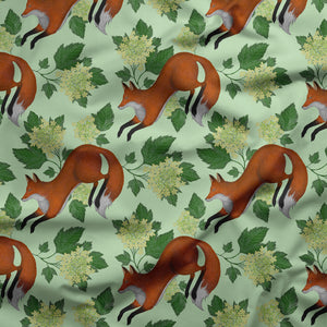Foxes and Flowers in Green Pattern Fabric