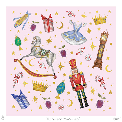 Gold Foil Detail Nutcracker Christmas Print - Super Limited Edition of 5 - Sugar Plum Pink