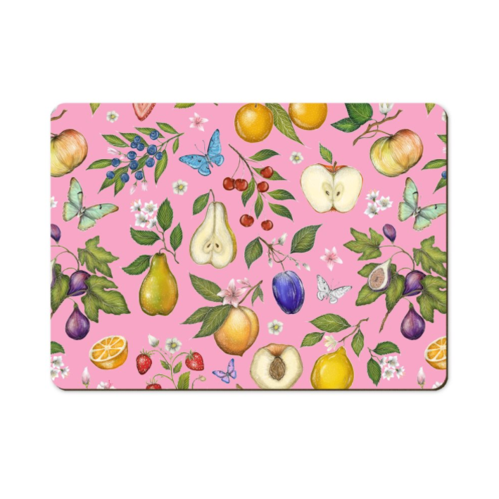 Fruit Pattern in Pink Wooden Placemats - Handmade to order in London