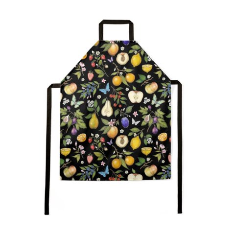 Fruits Pattern in Black Luxury Soft Apron - Handmade to Order in London