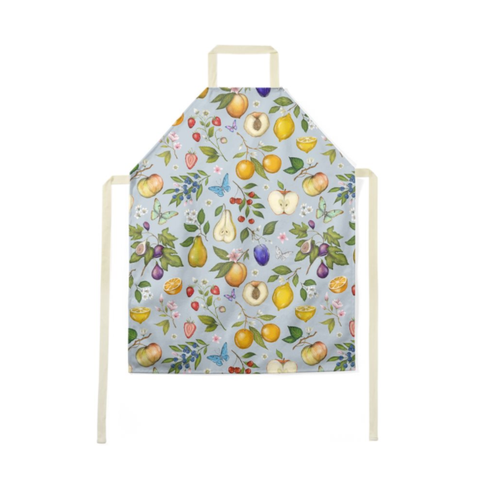 Fruits Pattern in Blue Luxury Soft Apron - Handmade to Order in London