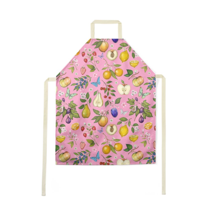 Fruits Pattern in Pink Luxury Soft Apron - Handmade to Order in London