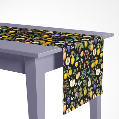 Fruits Pattern Luxury Table Runner - Handmade in London - 2 Sizes Available