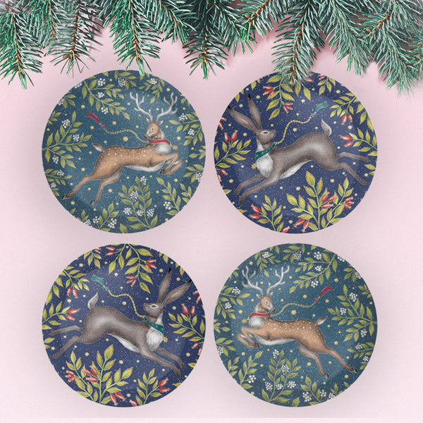 Christmas Hare and Deer Coaster Set - Mix & Match - Made to Order in London