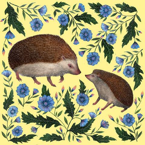 Mother & Baby Hedgehogs Print
