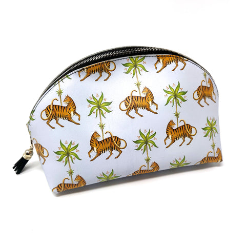 Tiger & Palm Pattern Large Shell Cosmetic Bag 100% Leather