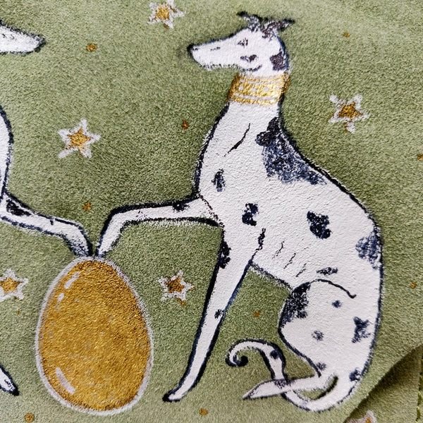 Hand-painted Two Dogs & Gold Egg Green Suede Across Body Bag Handbag