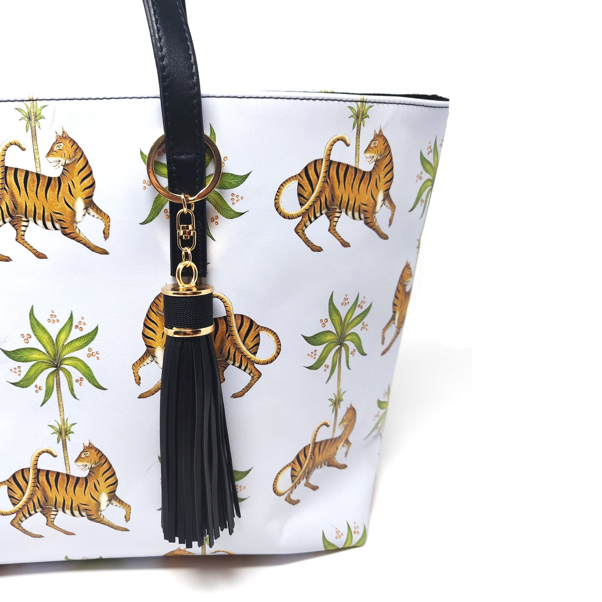 Tiger & Palm Pattern 100% Smooth Nappa Leather Handbag