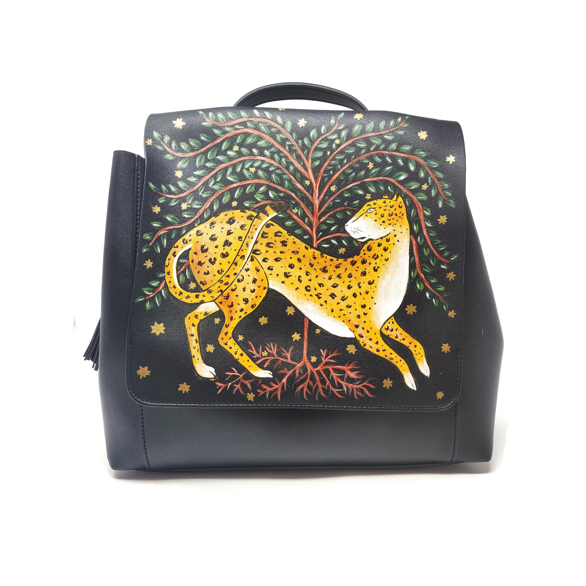 Hand-painted Leopard, Tree & Stars Black Backpack