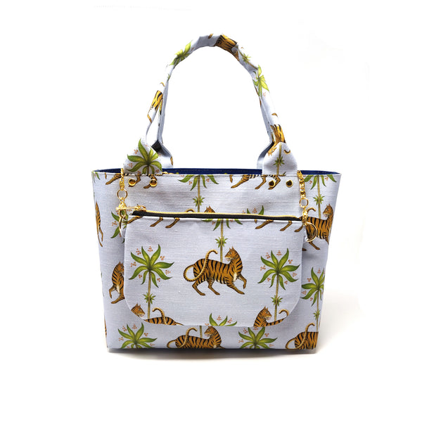 Tiger & Palms Pattern Cotton Linen Mix Tote Bag & Pouch