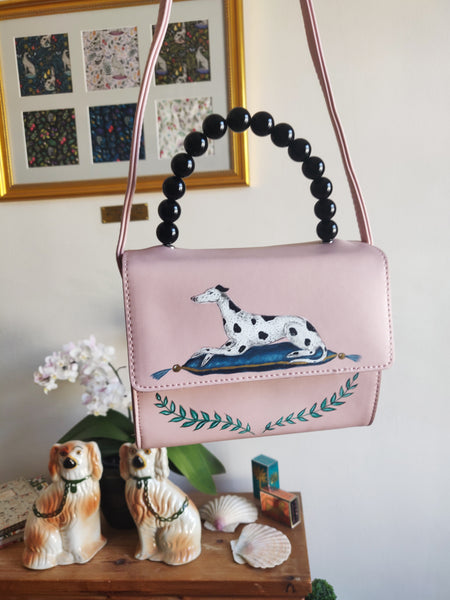 Hand-painted Spotty Dog Pink Handbag - Optional Personalisation