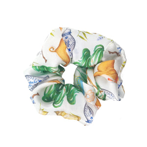 Chinoiserie Menagerie in Willow Green - Vegan Silk Scrunchie - Portion of Profits Donated to NHS
