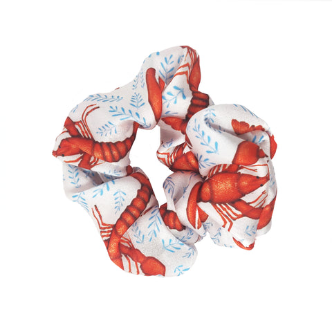 Lobsters Pattern - Vegan Silk Scrunchie - Portion of Profits Donated to NHS