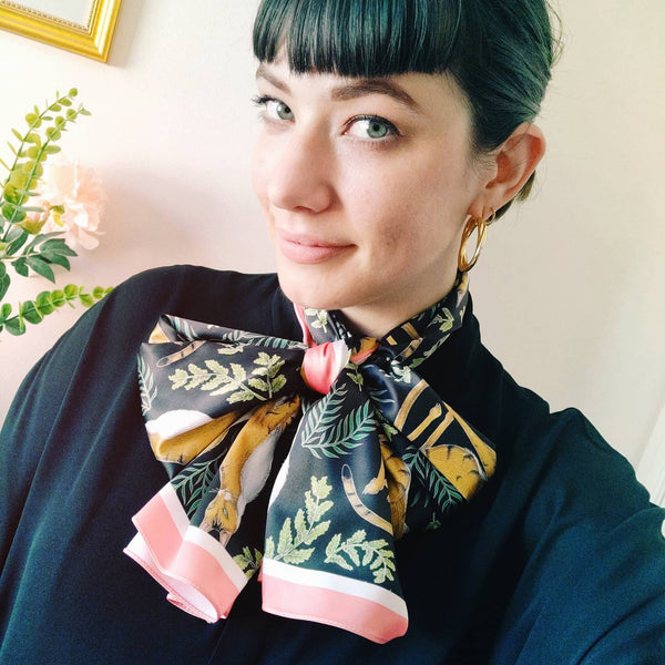 Vegan Silk Oblong Scarf in Jungle Cats Pattern