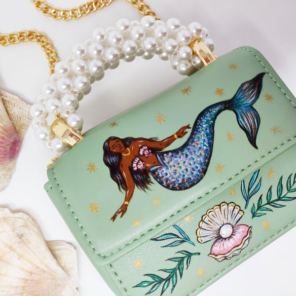 Hand-painted Mermaid Handbag - Miniature Cross Body Bag with Pearl Handle and Chain