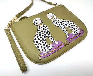 Hand-painted Spotty Dogs Leather Handbag - Green Across Body Bag - Dalmatians