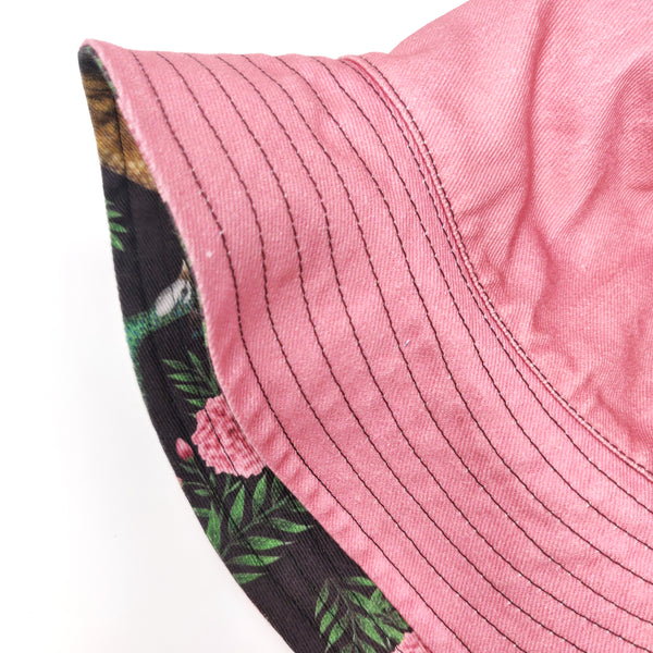 Peahen and Pink Marigolds Reversible Bucket Hat