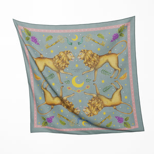 Leo Deus in Sage Silk Scarf - Available in 2 Sizes - 100% Silk or Vegan Faux Silk - Handmade to Order in London