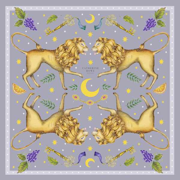 Leo Deus in Smoke Silk Scarf - Available in 2 Sizes - 100% Silk or Vegan Faux Silk - Handmade to Order in London